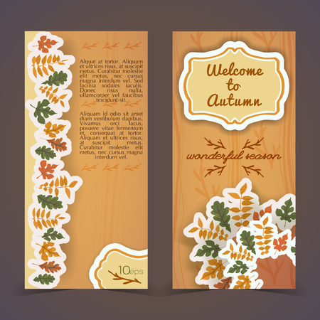 Warm autumn vertical banners with frame and compositions from foliage on textured tan background isolated vector illustration