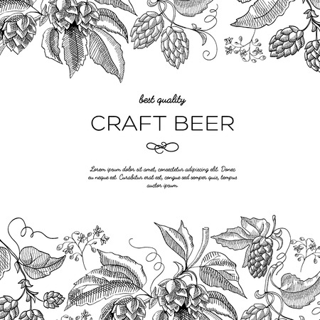 Decorative design sketch postcard with hops, berries and foliage with inscription that craft beer is best quality hand drawn doodle vector illustration