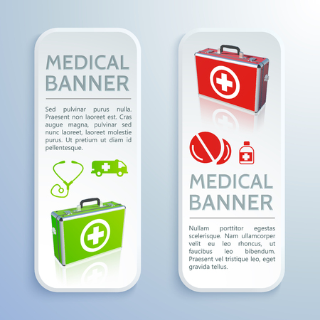 Healthcare colorful vertical banners with text medical bags drugs bottle pills ambulance stethoscope isolated vector illustration