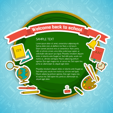 Back to school background with circle text paper supplies on blue line icons seamless pattern vector illustration