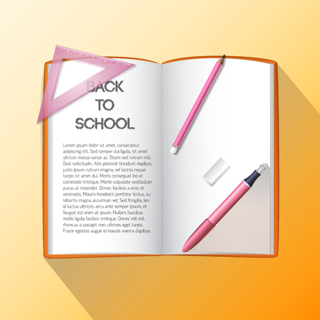 Education realistic concept with school supplies and items on light orange background Ilustrace