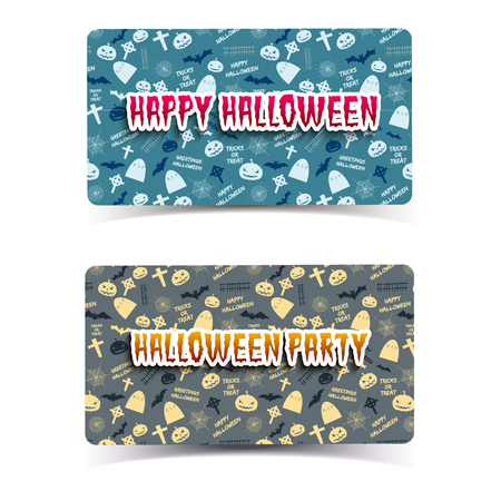 Happy Halloween horizontal banners with inscriptions pumpkins bats and tombstones isolated vector illustration