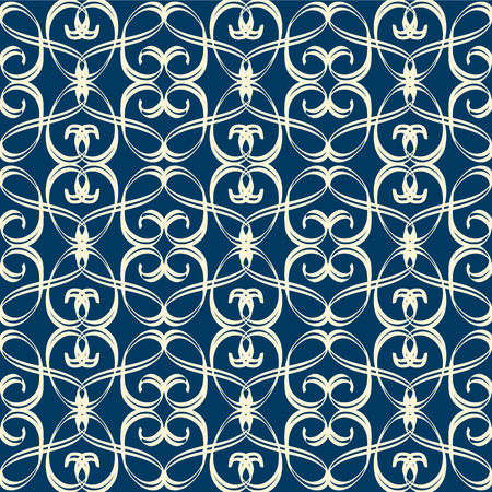 Vintage seamless pattern in arabesque style formed by white twisted ribbons