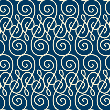 Monogram seamless pattern composed of thin white squiggles on dark blue background