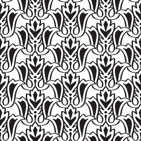 Minimalistic monochrome seamless pattern with black repeating geometric abstract shapes on white background vector illustration