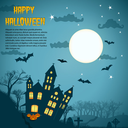 Halloween night background with dark castle cemetery crosses and bats at blue lunar sky flat vector illustration Illustration