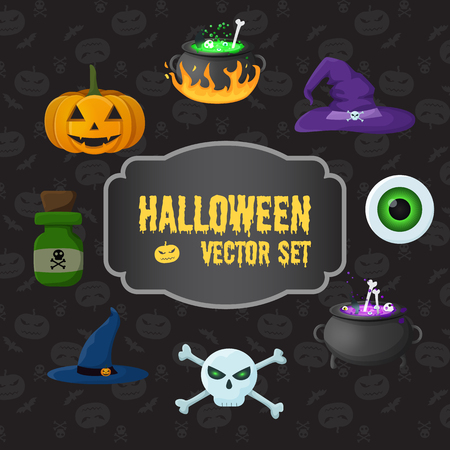 Halloween traditional elements set with pumpkin skull crossbones poison bottle witch hats eye cauldrons with potion vector illustration