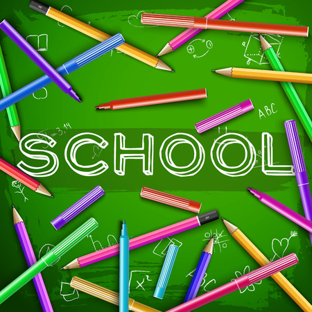 Colorful felt pens and pencils around inscription school and educational elements at green chalkboard vector illustration
