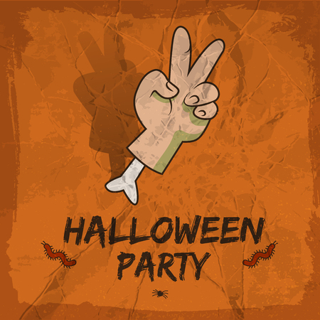 Halloween party design with severed hand with victory gesture red worms on crumpled terracotta background vector illustration