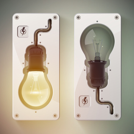 Two realistic isolated bulb with turned on light and turned off light vector illustration Ilustração