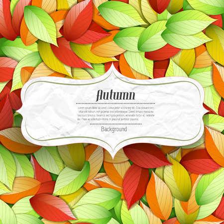 Light autumn seasonal poster with text in elegant crumpled paper frame and colorful falling leaves vector illustration
