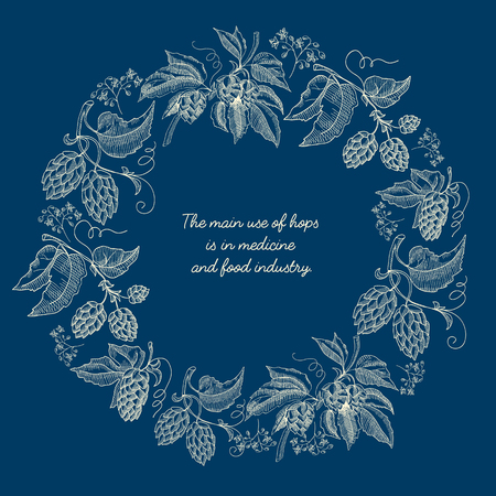 Abstract floral round wreath sketch poster with beer hop plants and inscription on blue background vector illustration