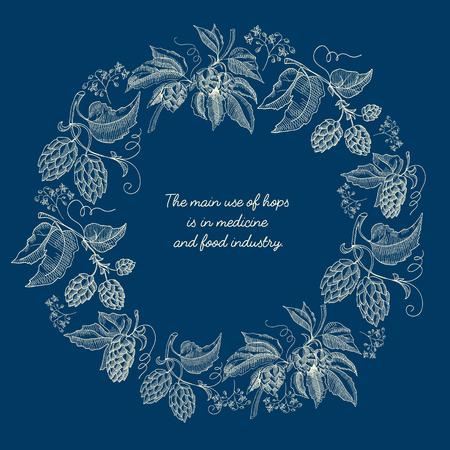 Abstraktes florales rundes Kranzskizzenplakat mit Bierhopfenpflanzen und Inschrift auf blauer Hintergrundvektorillustration