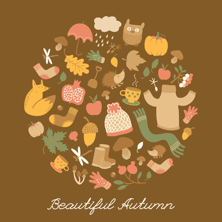 Beautiful autumn doodle style background with isolated seamless images of funny characters and cartoon fall elements vector illustration