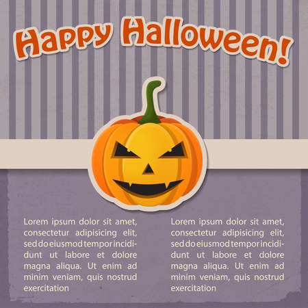 Festive Halloween Holiday vintage template with inscription and paper evil pumpkin on purple striped background vector illustration