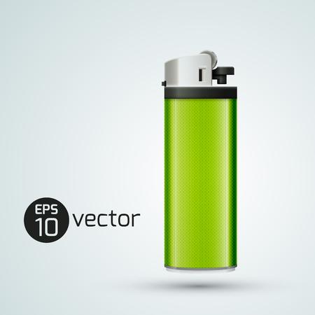 Modèle de conception de briquet à gaz 3d réaliste en couleur vert clair sur illustration vectorielle fond blanc