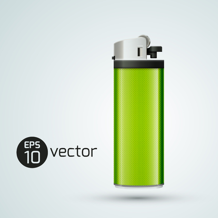 Realistic 3d gas lighter design template in light green color on white background vector illustration