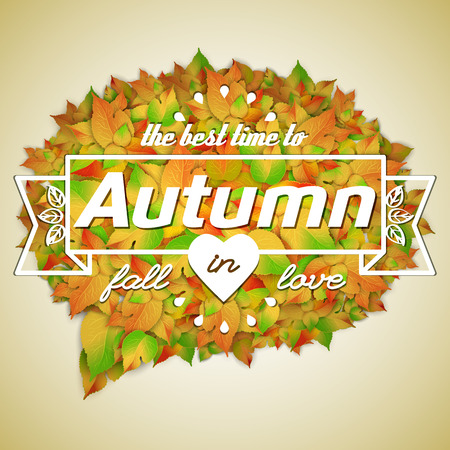 Seasonal floral autumn template with frame birch and maple leaves on light background isolated vector illustration
