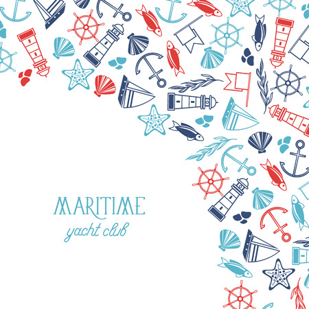 Maritime colorful yacht club poster divided on two parts where there is name of yacht club and many maritime elements such as coquille seaweed stones on white background as a sea vector illustration