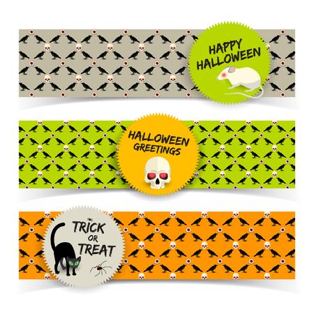 Halloween greeting horizontal banners with stickers white rat skull black cat on icons background vector illustration Vektorgrafik