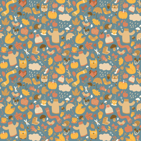 Autumn doodle style seamless pattern with plenty of small isolated elements of fall cartoon images and characters vector illustration