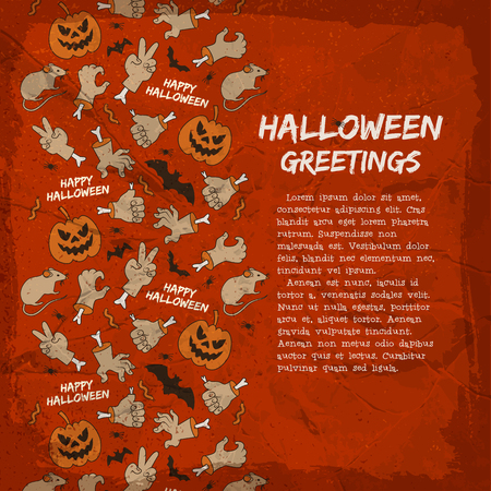 Card with halloween greetings animals lanterns of jack hands and gestures