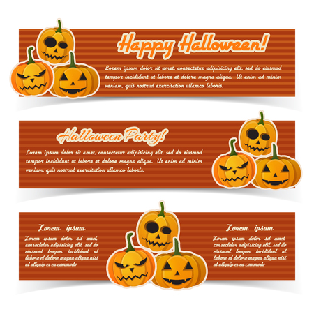 Festive Happy Halloween horizontal banners with text and paper pumpkins on red striped background vector illustration Stock Illustratie