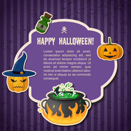 Abstract Halloween traditional greeting poster with text in frame pumpkins witch hat cauldron and potion bottle