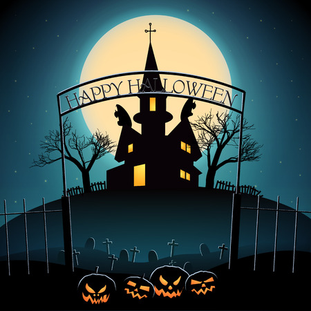 Halloween composition with lanterns from pumpkin cemetery haunted house and glowing moon on blue background vector illustration