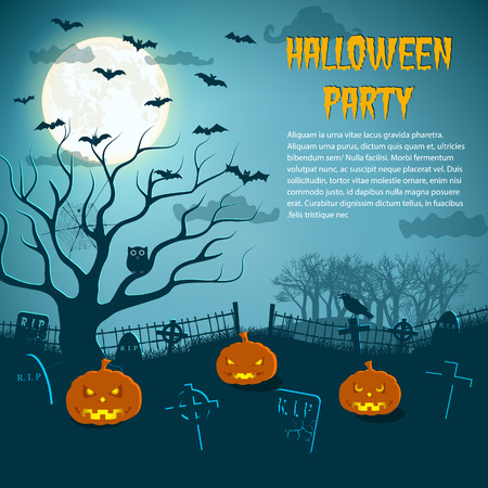 Halloween party flyer with lanterns of jack at cemetery and animals in moon night vector illustration