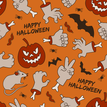 Halloween seamless pattern with smiling red lanterns of jack hands with bones on orange background