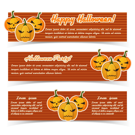 Greeting Halloween party horizontal banners with text and paper scary pumpkins on red striped background vector illustration