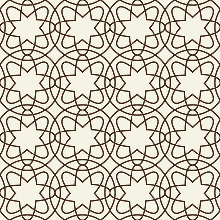 Decorative geometric monochrome tracery grid composed of intricate linear elements forming seamless pattern flat