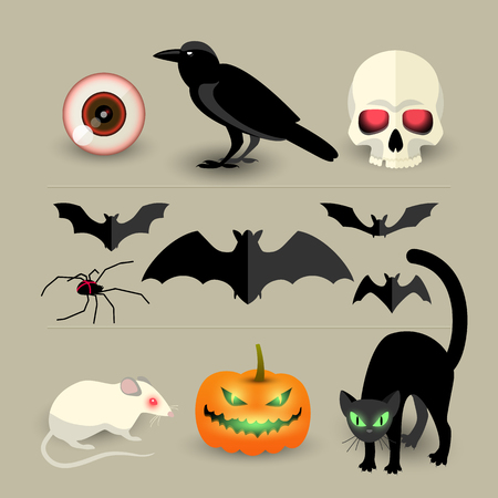 Halloween isolated decorative icons set of pumpkin bat crow skull spider black cat and white rat cartoon