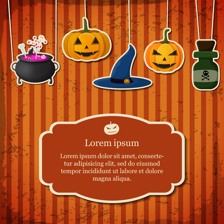 Festive Halloween poster with text in frame hanging pumpkins witch hat cauldron poison bottle on striped background vector illustration