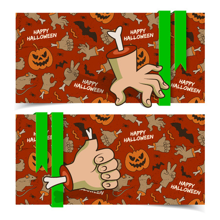 Evil cartoon Halloween horizontal banners with zombie arms gestures ribbons and icons red background vector illustration