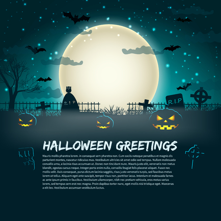Halloween greetings poster with cemetery gravestones at glowing moon in star sky background flat