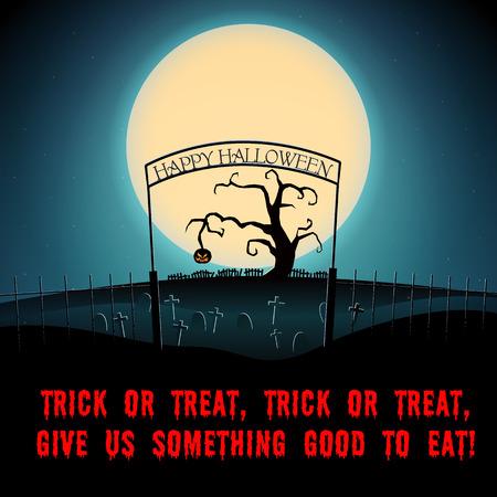 Cartoon Halloween scary night poster with text dry tree and evil pumpkin on graveyard vector illustration Ilustração