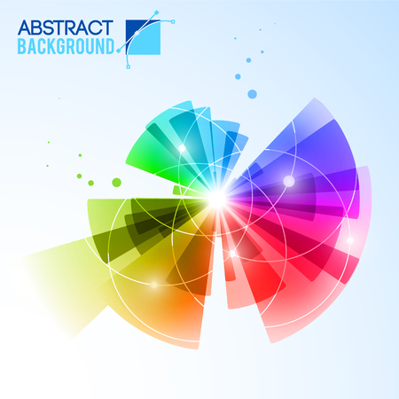 Abstract futuristic background with rainbow colored flower shaped composition of concentric rays of different length vector illustration
