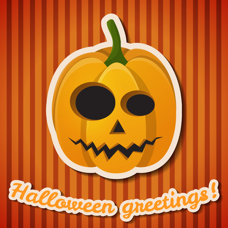 Halloween party festive poster with paper inscription and evil scary pumpkin on orange striped background vector illustration Фото со стока - 128174348