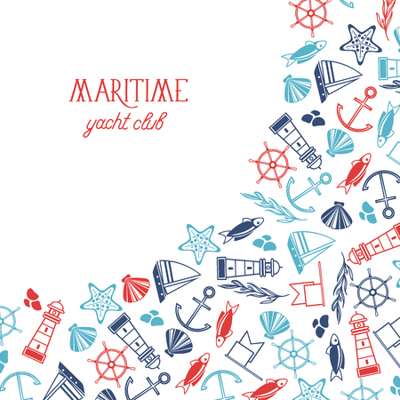 Maritime colorful yacht club poster