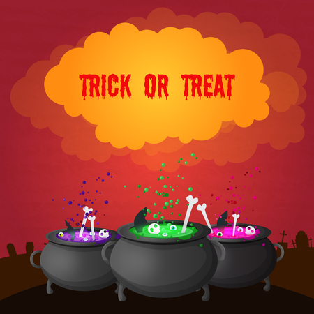 Abstract celebrating Halloween poster with inscription on cloud and magic potion boiling in witch pots vector illustration