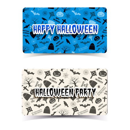 Horizontal banners with halloween elements including animals lanterns from pumpkin tombstones and trees isolated vector illustration