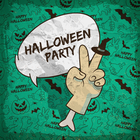 Cartoon Halloween greeting poster with speech cloud zombie arm hat and icons seamless pattern vector illustration