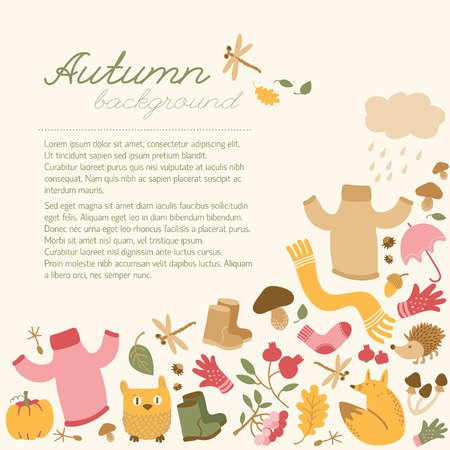 Conceptual fall background with place for editable text handwritten title and doodle style autumn elements isolated images vector illustration