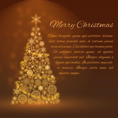 Weihnachtshintergrund mit großer funkelnder verzierter flacher Vektorillustration des Tannenbaums