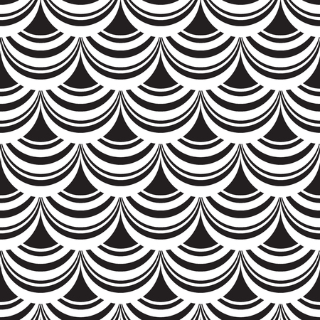 Minimalistic abstract seamless pattern with geometric shapes of repeating structure in monochrome style vector illustration Stock Illustratie
