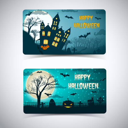 Happy halloween banners with huge moon haunted house cemetery flying bats on night sky isolated vector illustration