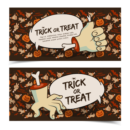 Evil Halloween horizontal banners with speech clouds zombie arms gestures and traditional icons brown background vector illustration