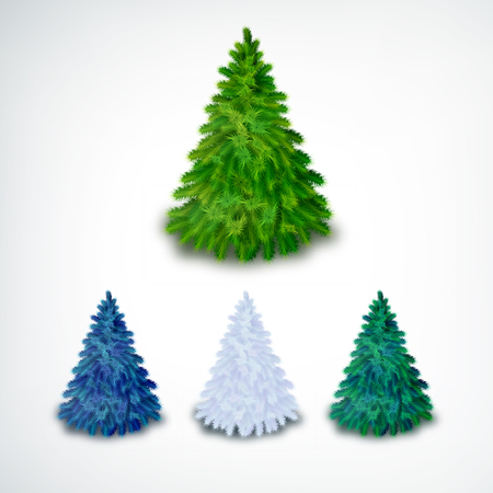 Realistic coniferous Christmas trees set of different colors on white background isolated vector illustration